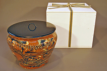 Antique mizusashi with veneered box DA01